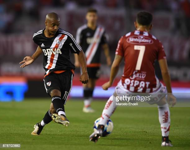 Nicolas De La Cruz of River Plate kicks the ball during a match between River and Union as part of Superliga 2017/18 at Monumental Stadium on...