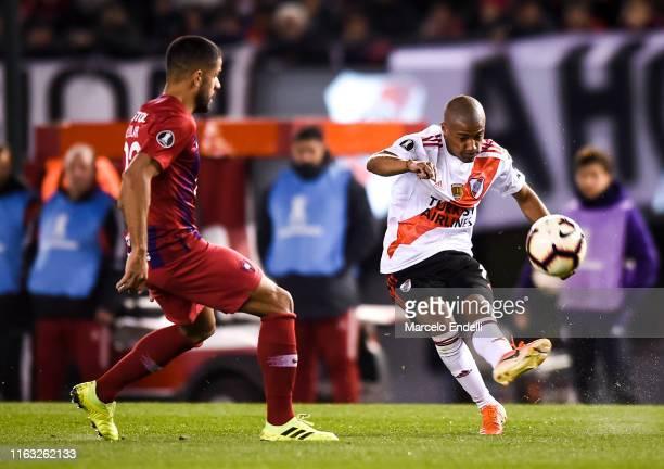 Nicolas De La Cruz of River Plate kicks the ball during a match between River Plate and Cerro Porteño as part of Quarter Finals of Copa CONMEBOL...