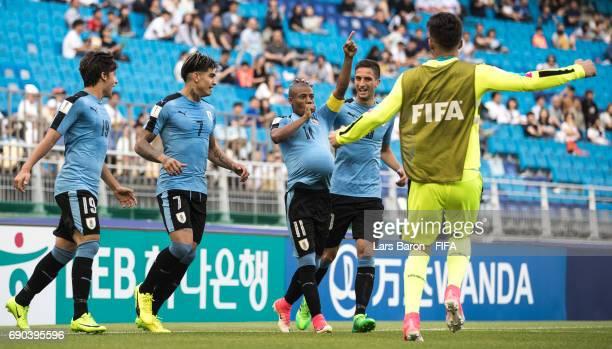 Nicolas de la Cruz of Uruguay celebrates after scoring his teams first goal during the FIFA U20 World Cup Korea Republic 2017 Round of 16 match...