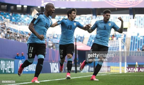 Nicolas de la Cruz of Uruguay celebrates after scoring his teams first goal during the FIFA U20 World Cup Korea Republic 2017 Semi Final match...