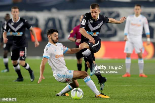 Nicolas De Preville of Bordeaux in action during the Ligue 1 match between FC Girondins de Bordeaux and Olympique Marseille at Stade Matmut...