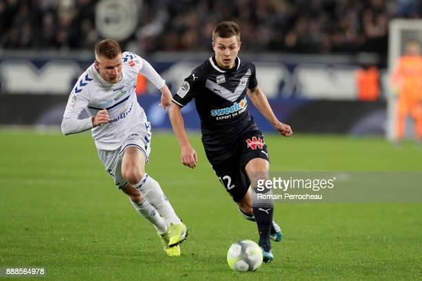 Nicolas De Preville of Bordeaux in action during the Ligue 1 match between FC Girondins de Bordeaux and Strasbourg at Stade Matmut Atlantique on...
