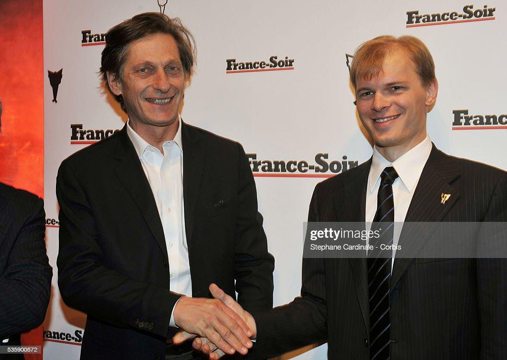 Nicolas De Tavernost and Alexandre Pougatchev attend France Soir Launch Party in Paris.