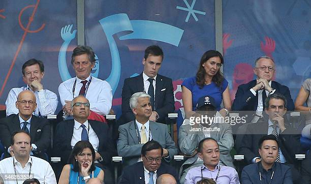 Nicolas de Tavernost Louis Ducruet JeanMichel Aulas attend the UEFA Euro 2016 final between Portugal and France at Stade de France on July 10 2016 in...