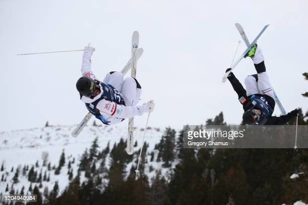 Nicolas Degaches of France competes against Ludvig Fjallstrom of Sweden during the Men's Dual Moguls at the FIS Freestyle Ski World Cup at Deer...
