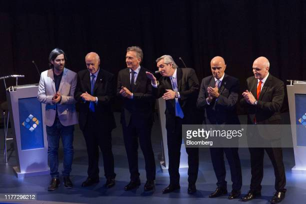 Nicolas del Cano presidential candidate for FIT party from left Roberto Lavagna presidential candidate for Consenso Federal Party Mauricio Macri...