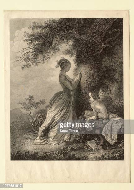 Nicolas Delaunay, French, 1739–1792, After Jean-Honoré Fragonard, , Le chiffre d'amour Etching and engraving on laid paper, image: 11 11/16 x 9 3/8...