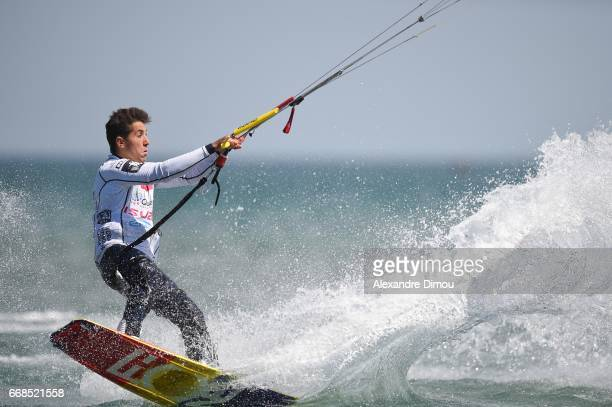 Nicolas Delmas of France competes in the WKL Kiteboarding World Cup 2017 freestyle qualifiers on April 14 2017 in Leucate France