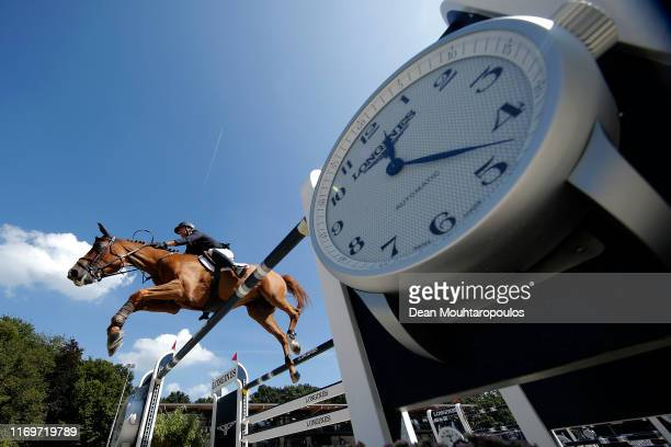Nicolas Delmotte of France riding Urvoso du Roch competes during Day 4 of the Longines FEI Jumping European Championship 2nd part, team Jumping 1st...