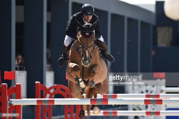 Nicolas Deseuzes of France riding Quilane de Lezeaux during the Longines Grand Prix Athina Onassis Horse Show on June 3 2017 in St Tropez France