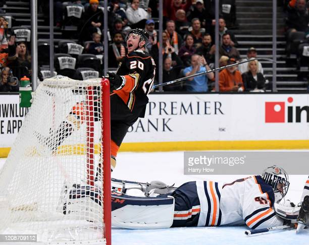 Nicolas Deslauriers of the Anaheim Ducks celebrates his goal past Mike Smith of the Edmonton Oilers, to take a 2-0 lead, during the first period at...