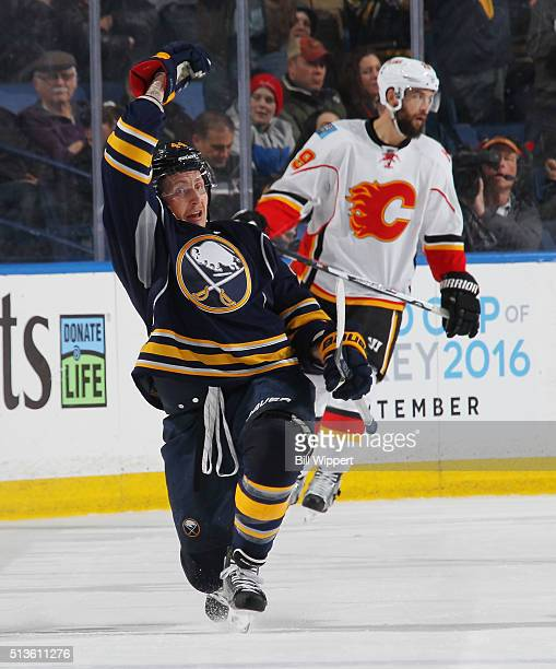 Nicolas Deslauriers of the Buffalo Sabres celebrates his second period goal against the Calgary Flames during an NHL game on March 3 2016 at the...