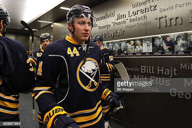 Nicolas Deslauriers of the Buffalo Sabres heads to the ice to play the New York Islanders on February 8 2015 at the First Niagara Center in Buffalo...