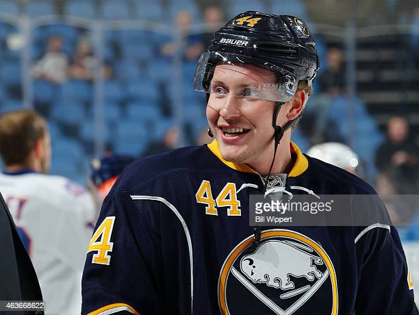 Nicolas Deslauriers of the Buffalo Sabres prepares to play against the New York Islanders on February 8 2015 at the First Niagara Center in Buffalo...