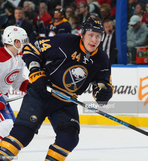 Nicolas Deslauriers of the Buffalo Sabres skates during an NHL game against the Montreal Canadiens at KeyBank Center on April 5 2017 in Buffalo New...