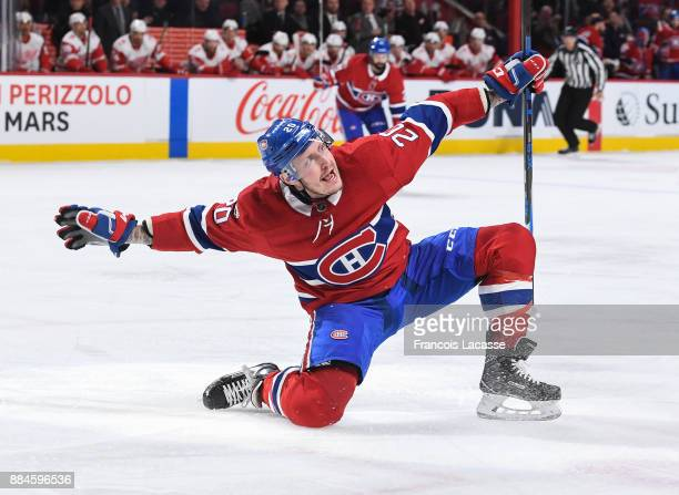 Nicolas Deslauriers of the Montreal Canadiens celebrates after scoring a goal against the Detroit Red Wings in the NHL game at the Bell Centre on...