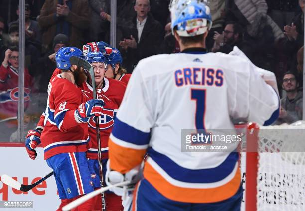 Nicolas Deslauriers of the Montreal Canadiens celebrates after scoring a goal against the New York Islanders in the NHL game at the Bell Centre on...