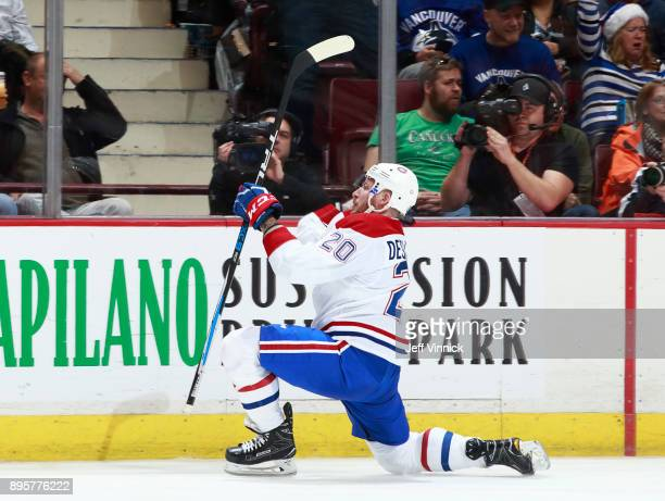 Nicolas Deslauriers of the Montreal Canadiens celebrates his goal during their NHL game against the Vancouver Canucks at Rogers Arena December 19...