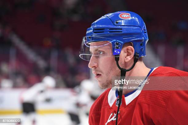 Nicolas Deslauriers of the Montreal Canadiens during warm up prior to game against the Arizona Coyotes in the NHL game at the Bell Centre on November...
