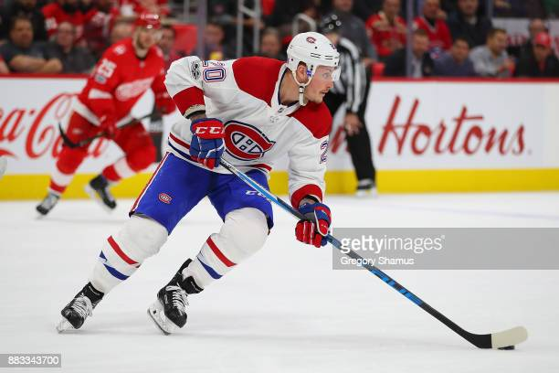 Nicolas Deslauriers of the Montreal Canadiens heads up ice in the second period while playing the Detroit Red Wings at Little Caesars Arena on...
