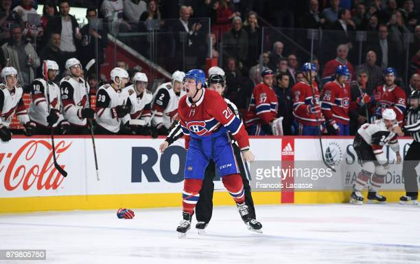 Nicolas Deslauriers of the Montreal Canadiens reacts after fight in the second period of the Arizona Coyotes in the NHL game at the Bell Centre on...