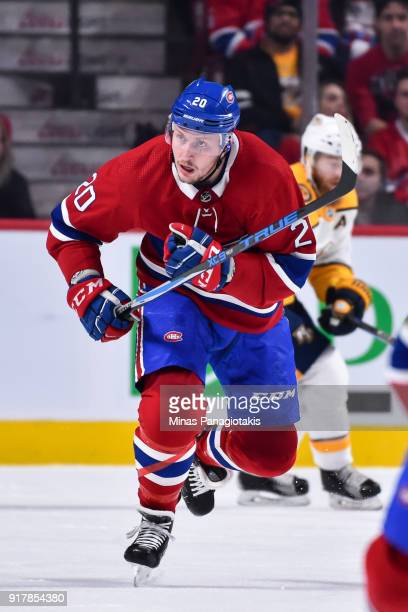 Nicolas Deslauriers of the Montreal Canadiens skates against the Nashville Predators during the NHL game at the Bell Centre on February 10 2018 in...