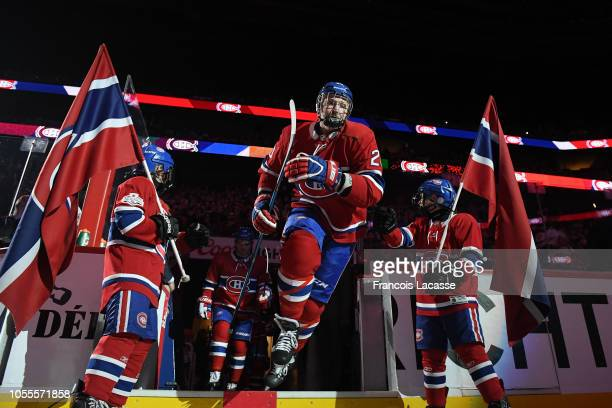Nicolas Deslauriers of the Montreal Canadiens skates onto the ice prior to NHL game action against the Dallas Stars in the NHL game at the Bell...