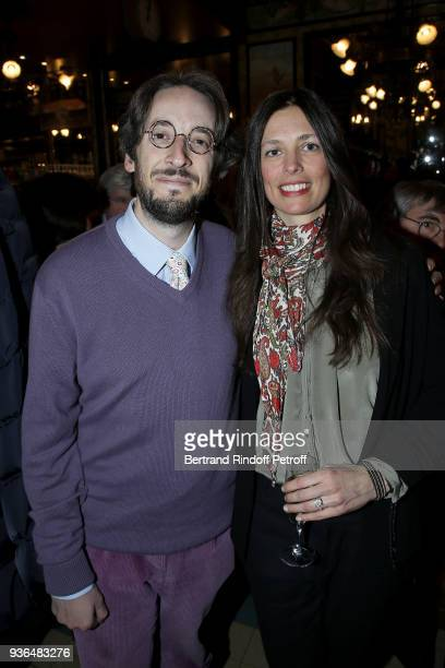Nicolas d'Estienne d'Orves and Lea Santamaria attend the 83rd Prix Cazes de la Brasserie Lipp Literary Prize at Brasserie Lipp on March 22 2018 in...