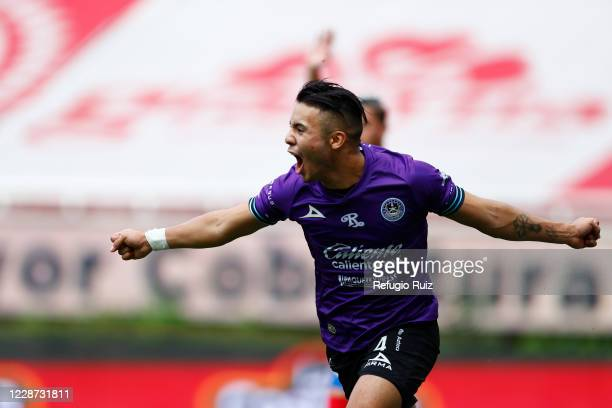 Nicolas Diaz of Mazatlan celebrates after scoring the first goal of his team during the 12th round match between Chivas and Mazatlan FC as part of...