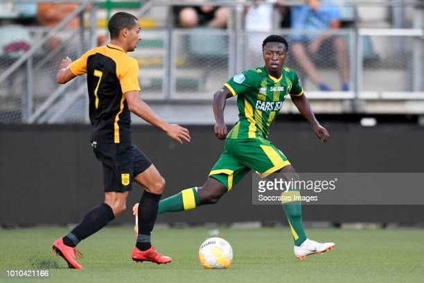 Nicolas Diguiny of Aris Thessaloniki Robin Polley of ADO Den Haag during the Club Friendly match between ADO Den Haag v Aris Saloniki at the Cars...