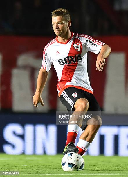 Nicolas Domingo of River Plate controls the ball during a match between Colon and River Plate as part of Torneo de Transicion 2016 at Brigadier Lopez...