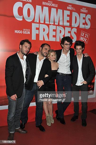 Nicolas Duchauvelle Francois Xavier Demaison Melanie Thierry Hugo Gelin and Pierre Niney attend 'Comme Des Freres' Premiere at Cinema Gaumont Opera...