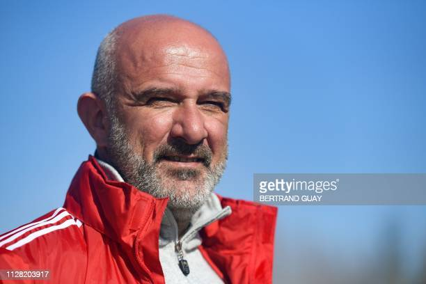 Nicolas Dupuis, coach of Madagascar's national football team and of Fleury's French National 2 football club, poses for a portrait during a training...