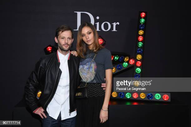 Nicolas Duvauchelle and Anouchka Alsif pose at Dior Homme Menswear Fall/Winter 20182019 show as part of Paris Fashion Week at Grand Palais on January...