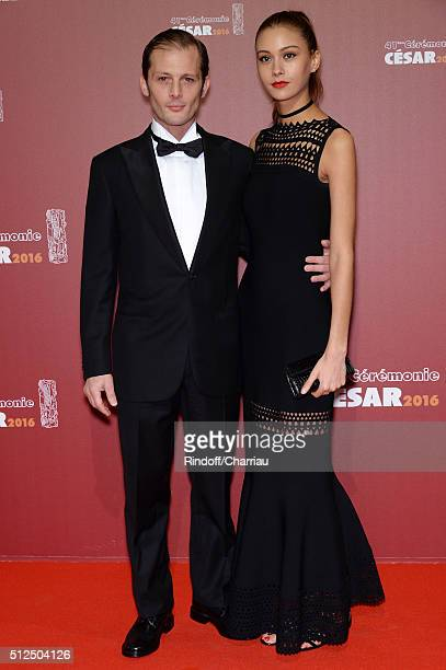 Nicolas Duvauchelle and Laura Isaaz arrive at The Cesar Film Awards 2016 at Theatre du Chatelet on February 26 2016 in Paris France