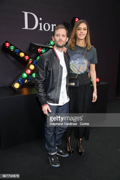 Nicolas Duvauchelle and Laura Isaaz attend the Dior Homme Menswear Fall/Winter 20182019 show as part of Paris Fashion Week on January 20 2018 in...