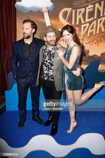 Nicolas Duvauchelle Mathias Malzieu and Marilyn Lima attends the Une Sirene A Paris premiere at Cinema Max Linder on March 02 2020 in Paris France