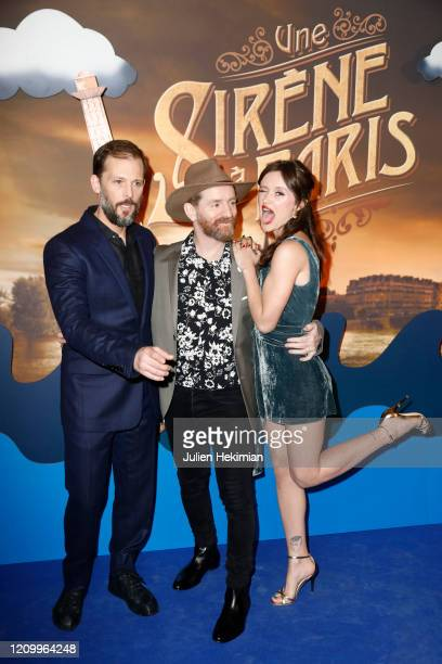 PARIS FRANCE MARCH 02 Nicolas Duvauchelle Mathias Malzieu and Marilyn Lima attends the Une Sirene A Paris premiere at Cinema Max Linder on March 02...