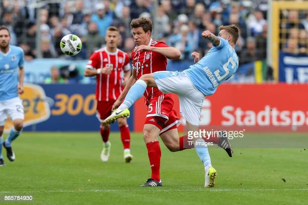 Nicolas Feldhahn of Bayern Muenchen and Nicolas Andermatt of 1860 Muenchen battle for the ball during the match between TSV 1860 Muenchen and Bayern...