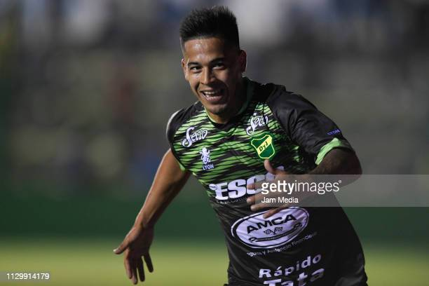 Nicolas Fernandez of Defensa y Justicia celebrates after scoring his side's first goal during a match between Defensa y Justicia and Banfield as part...
