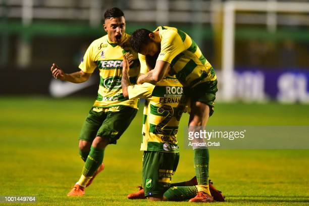 Nicolas Fernandez of Defensa y Justicia celebrates after scoring the opening goal with his teammates during a second stage match between Defensa y...