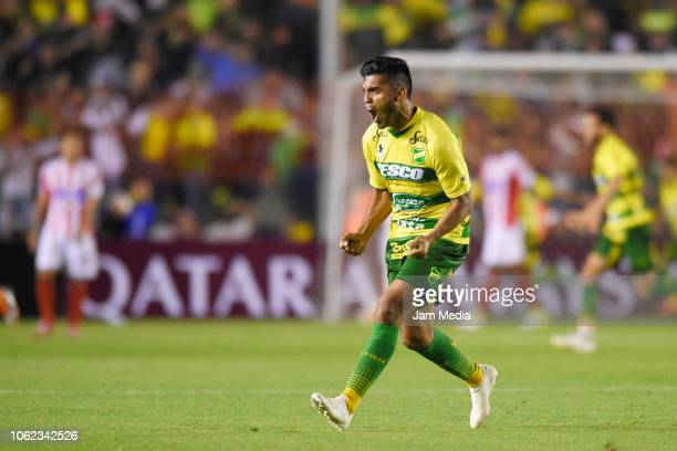 Nicolas Fernandez of Defensa y Justicia celebrates after scoring the third goal of his team during a Quarter Final second leg match between Defensa y...