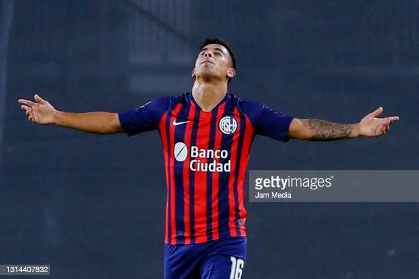 Nicolas Fernandez of San Lorenzo celebrates after scoring his team's first goal during a match between River Plate and San Lorenzo as part of Copa de...