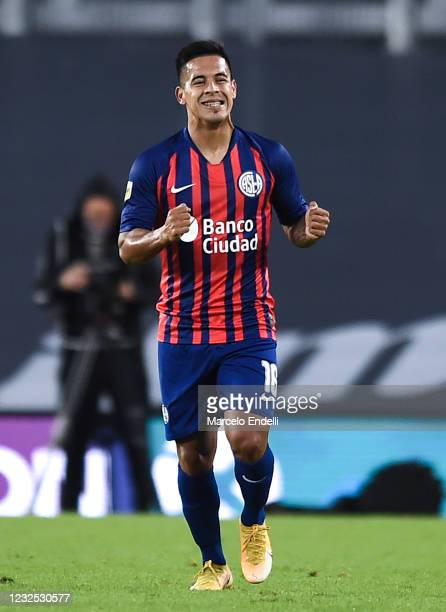 Nicolas Fernandez of San Lorenzo celebrates after scoring the first goal of his team during a match between River Plate and San Lorenzo as part of...