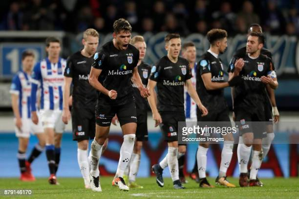Nicolas Freire of PEC Zwolle celebrates 11 during the Dutch Eredivisie match between SC Heerenveen v PEC Zwolle at the Abe Lenstra Stadium on...