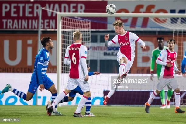 Nicolas Freire of PEC Zwolle Donny van de Beek of Ajax Frenkie de Jong of Ajax Nicolas Tagliafico of Ajax during the Dutch Eredivisie match between...
