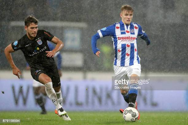 Nicolas Freire of PEC Zwolle Martin Odegaard of SC Heerenveen during the Dutch Eredivisie match between SC Heerenveen v PEC Zwolle at the Abe Lenstra...