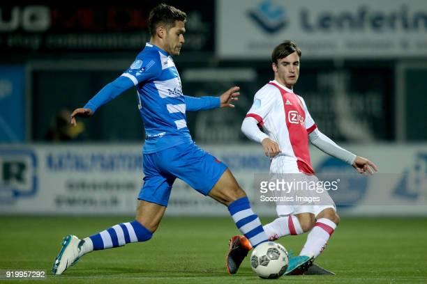 Nicolas Freire of PEC Zwolle Nicolas Tagliafico of Ajax during the Dutch Eredivisie match between PEC Zwolle v Ajax at the MAC3PARK Stadium on...