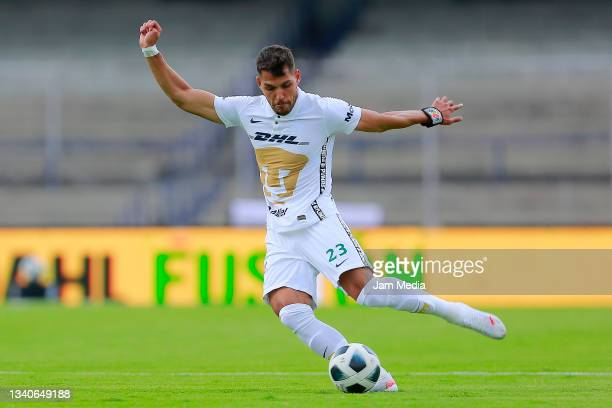 Nicolas Freire of Pumas drives the ball during the 8th round match between Pumas UNAM and Chivas as part of the Torneo Grita Mexico A21 Liga MX at...