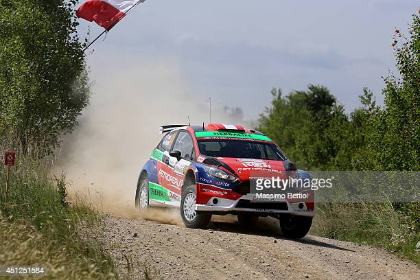 Nicolas Fuchs of Peru and Fernando Mussano of Argentina compete in their Ford Fiesta R5 during the Shakedown of the WRC Poland on June 26 2014 in...
